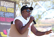 CAPE TOWN, SOUTH AFRICA - Saturday 12 November 2016, Irma G from Heart 104.9 fm during the Capitec Color Run held in and around Green Point Track in Cape Town. The Capitec Clor Run is a five kilometer non-timed race in which thousands of participants, or Color Runners, are doused from head to tow in different colours at each kilometer. <br /> Photo by Roger Sedres/ ImageSA