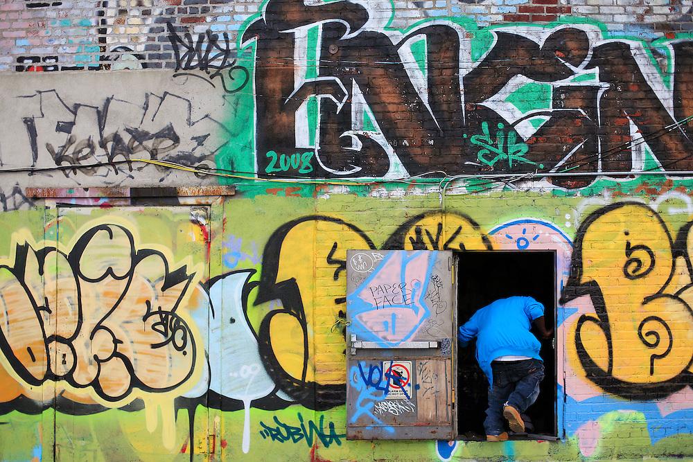 Rooftop graffiti. DUMBO, Brooklyn.