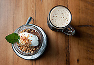 Chocolate Mousse with salted and carmelized peanuts (left) with a stein of Sumatra Port at Port Chester Hall in Port Chester, NY on Wednesday, June 11, 2014.  © Chet Gordon / Westchester Magazine