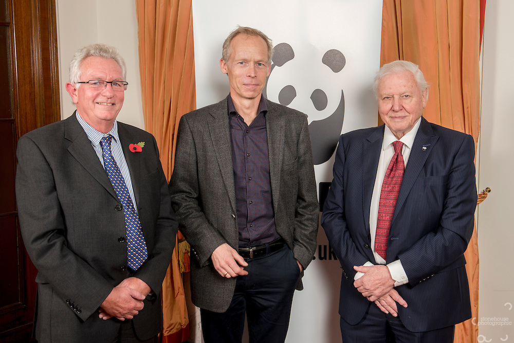 Keith Scholey, Johan Rockstrom and Sir David Attenborough at the Inaugural WWF Living Planet Lecture at The Royal Society, London. 3/11/2016