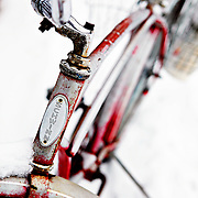 """SHOT 2/12/12 1:29:27 PM - A snow covered Schwinn cruiser bike on Elk Avenue in Crested Butte, Co. Crested Butte is a Home Rule Municipality in Gunnison County, Colorado, United States. A former coal mining town now called """"the last great Colorado ski town"""", Crested Butte is a destination for skiing, mountain biking, and a variety of other outdoor activities. The population was 1,529 at the 2000 census. The Colorado General Assembly has designated Crested Butte the wildflower capital of Colorado. The primary winter activity in Crested Butte is skiing or snowboarding at nearby Crested Butte Mountain Resort in Mount Crested Butte, Colorado. Backcountry skiing in the surrounding mountains is some of the best in Colorado. The mountain, Crested Butte, rises to 12,162 feet (3,700 m) above sea level..(Photo by Marc Piscotty / © 2012)"""