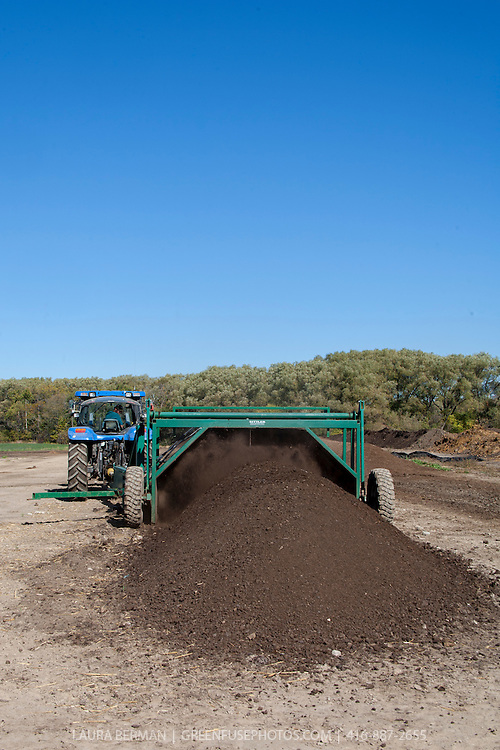 A livestock farmer turns his animal's manure into high quality compost.
