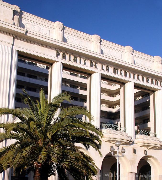 Europe, France, Nice. Palais De La Mediterranee facade