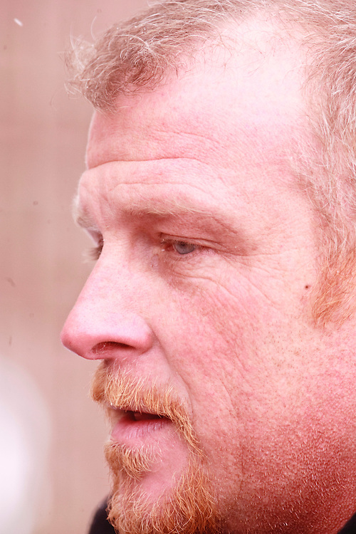 Woodstock, ONT.: February 8, 2011 --  Rodney Stafford, father of slain 8 year old Woodstock, Ontario girl, Victoria Stafford, speaks to reporters outside the Woodstock courthouse, February 8, 2011. The remaining accused, Michael Rafferty was in court for a pretrial hearing.<br /> (GEOFF ROBINS/ Postmedia News)