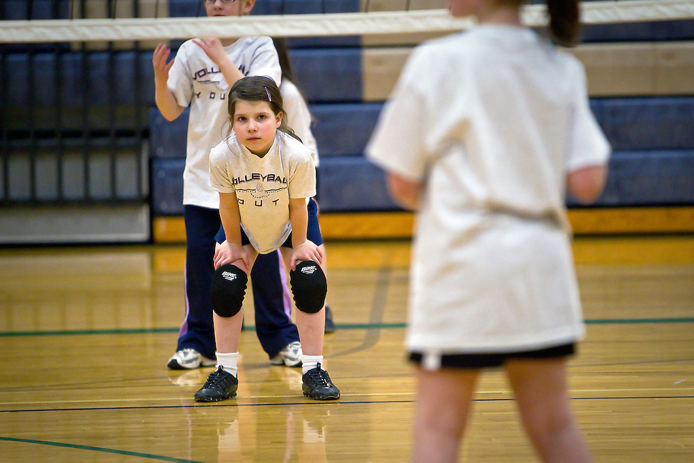 JEROME A. POLLOS/Press..Rheana waiting to return a serve during a mini-game at her second volleyball practice Thursday, March 11, 2010 at Woodland Middle School in Coeur d'Alene. I missed her first practice because I was in Boise. She was excited for me to come and watch her. She did great and definitely has a competitive spirit.