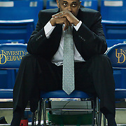02/01/12 Newark DE: George Mason Head Coach Paul Hewitt intensely watches the Delaware men's warm up prior to a Colonial Athletic Association conference Basketball Game against Delaware Wed, Feb. 1, 2012 at the Bob Carpenter Center in Newark Delaware.<br /> <br /> Delaware defeats George Mason 65 - 60