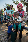 Mustapha Ahmed Jalal (21) with his wife (21) and their three children are from Talll Al Abyad city in Syria. They left from there 4 years ago and tried to make a life in Turkey where it was difficult to find jobs. They eventually decided to come to Europe and stay anywhere where they can be accepted. <br />