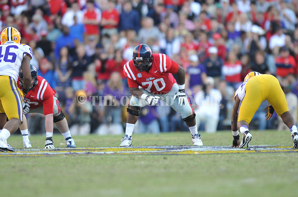 Ole Miss offensive lineman Emmanuel McCray (70) vs. LSU at Tiger Stadium in Baton Rouge, La. on Saturday, November 17, 2012. LSU won 41-35.....