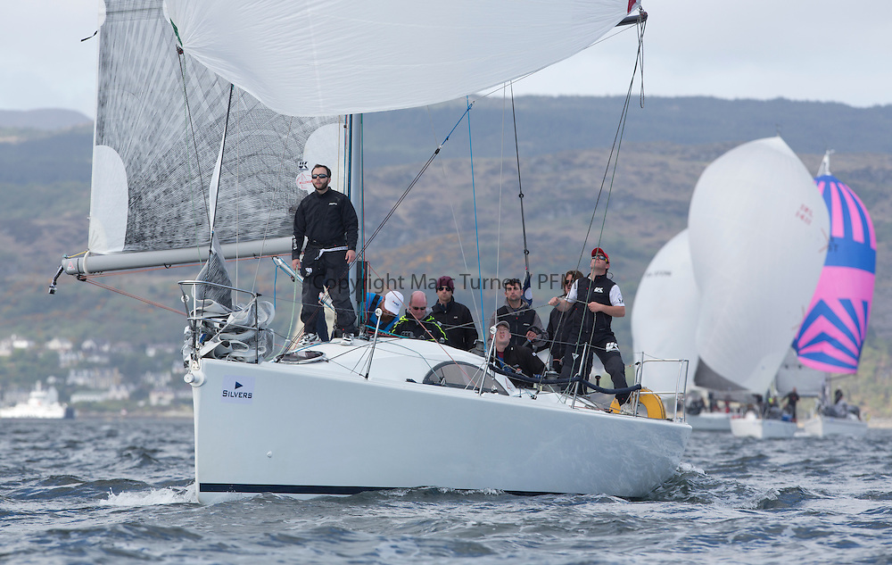 The final days racing at the Silvers Marine Scottish Series 2015, the largest sailing event in Scotland organised by the  Clyde Cruising Club<br /> Racing on Loch Fyne from 22rd-24th May 2015<br /> <br /> IRL3061, Fools Gold, Robert McConnell, A35<br /> <br /> Credit : Marc Turner / CCC<br /> For further information contact<br /> Iain Hurrel<br /> Mobile : 07766 116451<br /> Email : info@marine.blast.com<br /> <br /> For a full list of Silvers Marine Scottish Series sponsors visit http://www.clyde.org/scottish-series/sponsors/