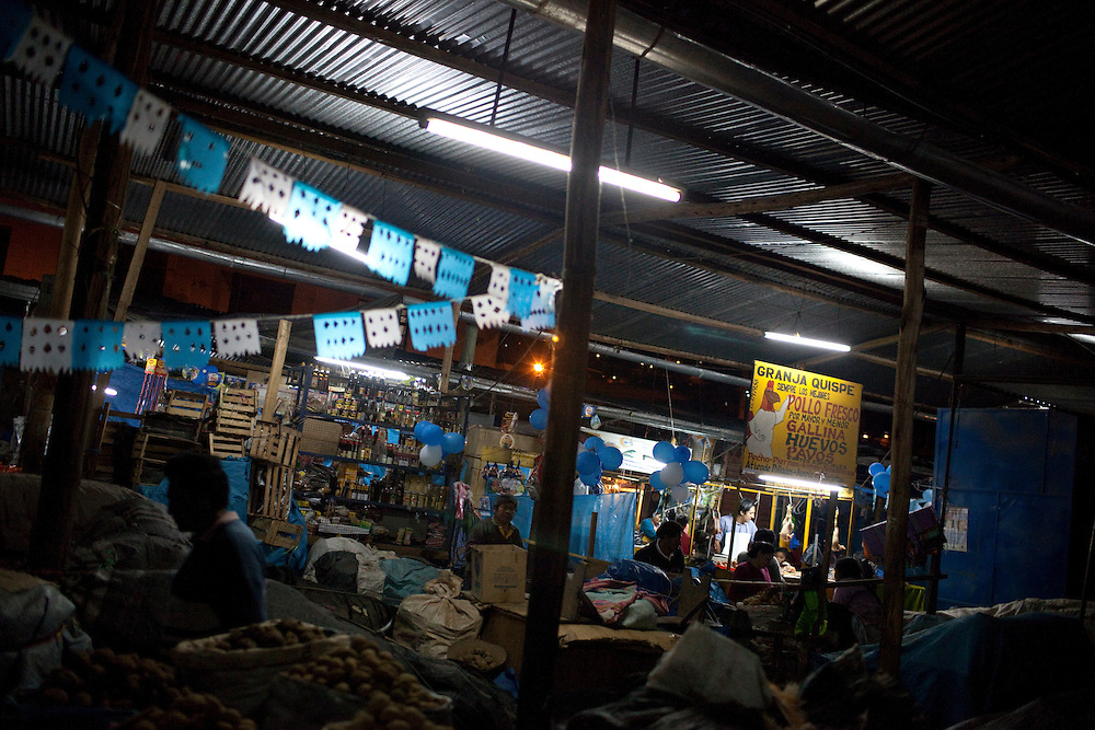 The market at night on Wednesday, Apr. 15, 2009 in Ayacucho, Peru.