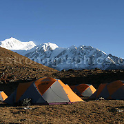 Himalayan Camp, Southern Himalayas, Kanchenchunga in the background.