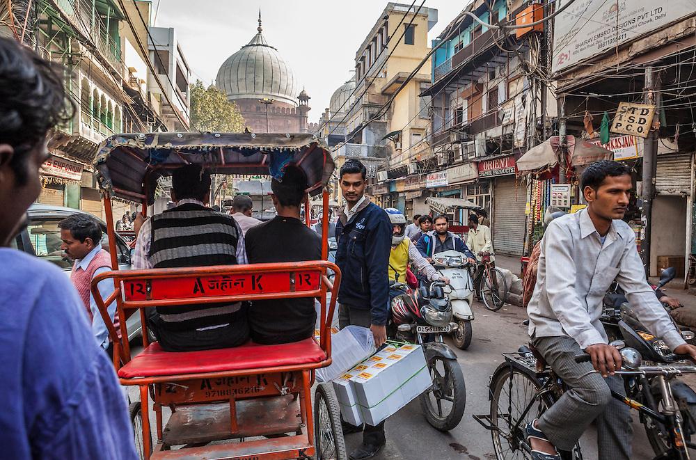 A view down Chawri Bazar Rd in Chandni Chouk, Old Delhi, India.