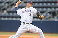 Mississippi's David Goforth pitches vs. Arkansas in a college baseball game at Oxford-University Stadium in Oxford, Miss. on Sunday, May 9, 2010.Arkansas won 7-0.
