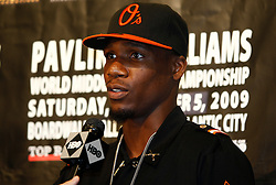 Sept 29, 2009; East Rutherford, NJ, USA; Challenger Paul Williams during the press conference announcing his December 5, 2009 World Middleweight Championship fight against Kelly Pavlik. The two will meet at Boardwalk Hall in Atlantic City, NJ.  Mandatory Credit: Ed Mulholland