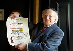 11 May 2012 President Michael D. Higgins who received the freedom of Galway City in Hotel Meyrick, Galway City. Photo:Andrew Downes