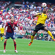 Jamaica Midfielder Jason Morrison #7 heads the ball in the first half. The United State would go on to to defeat Jamaica 2-0 in the concacaf gold cup quarterfinals Sunday, June 19, 2011 at  RFK Stadium in Washington DC.