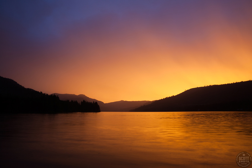 """Donner Lake Sunset 18"" - Photograph of a very bright sunset at Donner Lake, shot from the East end."