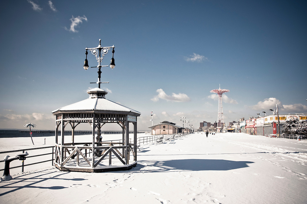 Boardwalk covered with snow during winter at Coney Island, Brooklyn, New York, 2011.