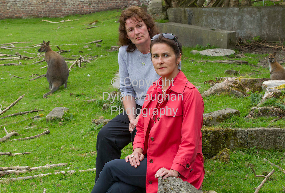 7/9/2012.Helen Rothwell, company director (left) and Liz Nolan of Castelcomer Discovery Park pictured with the  Wallaby's at the animal sanctuary at Castlecomer Discovery Park..Helen hand reared the wallaby's that went missing from the park..Picture Dylan Vaughan.
