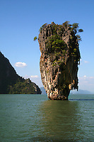 "James Bond Island, called Koh Tapu by locals, one of the main tourist attractions in Phang Nga bay as it featured in ""The Man with the Golden Gun"" noted for its unique shape."