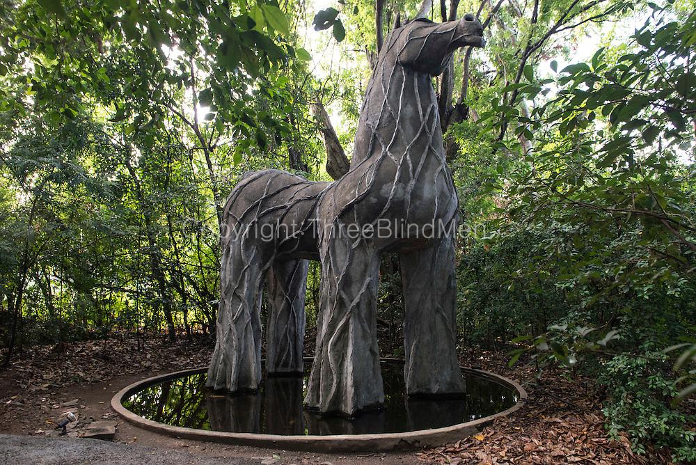 Trojan Horse at entrance to Diyabubula. <br /> Laki Senanayake's home.