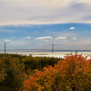 &quot;Distance Spanned&quot; 2<br /> <br /> Autumn color, Lake Michigan, and Mackinac Bridge.<br /> <br /> The Great Lakes by Rachel Cohen