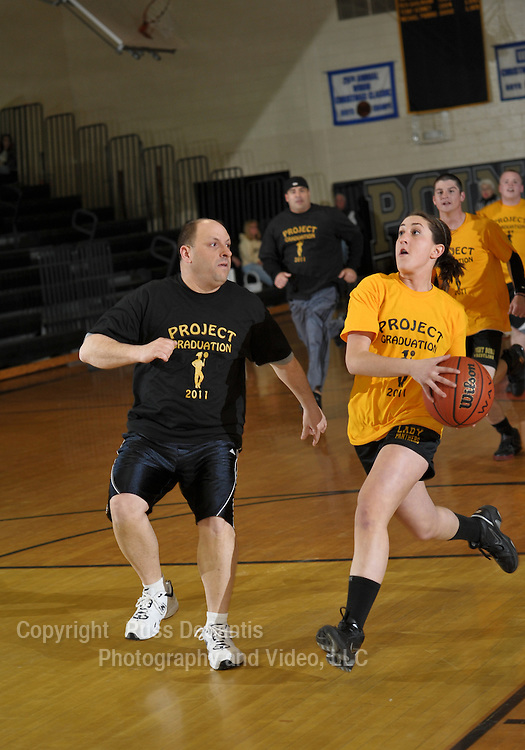 Photo from Point Pleasant Boro High School Seniors versus Teachers basketball game. The game was played to raise money for Project Graduation 2011 to provide a safe environment for students on graduation night. / Photo by Russ DeSantis