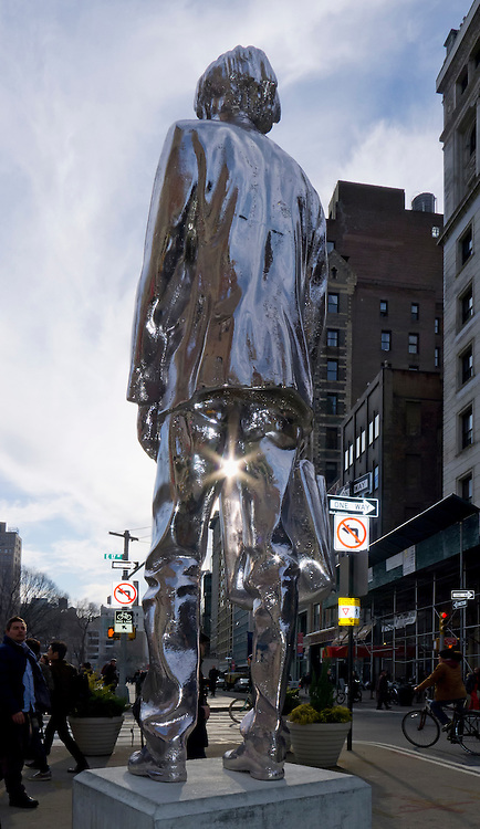 Chrome (mirror) Man statue on Broadway Manhattan.