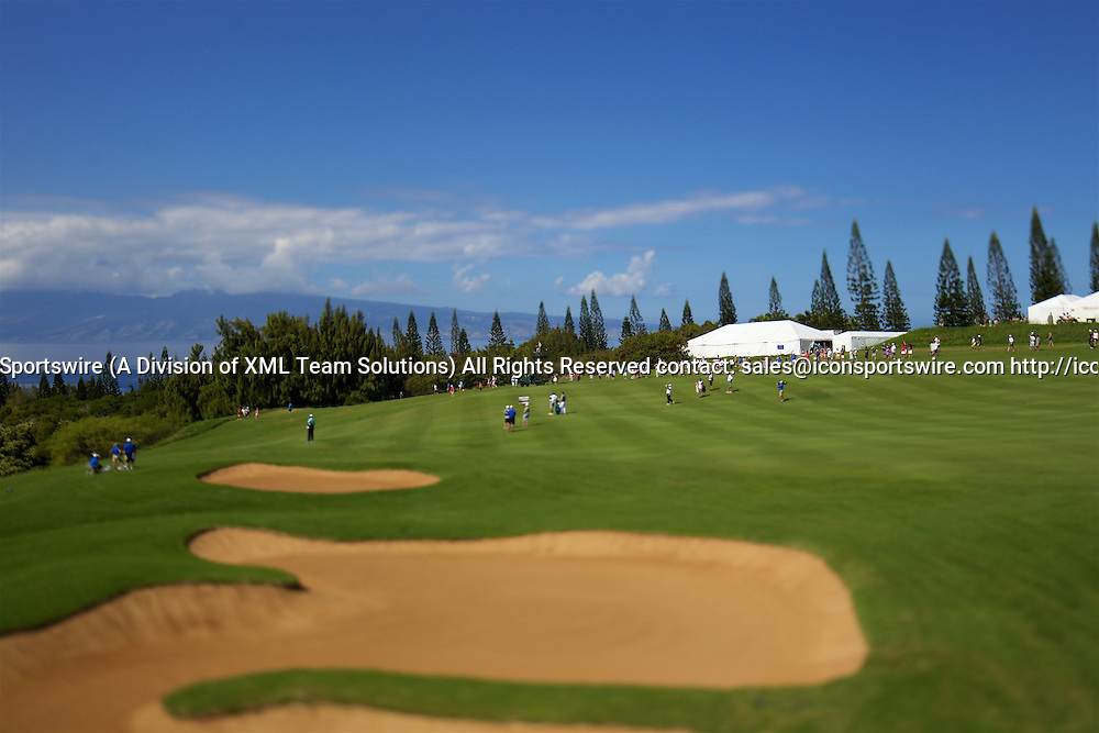 January 08 2016: Patrick Reed hits his second shot on the first hole during the Second Round of the Hyundai Tournament of Champions at Kapalua Plantation Course on Maui, HI. (Photo by Aric Becker/Icon Sportswire)