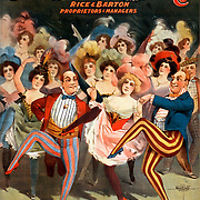 """Created and """"copyright 1899 Courier Litho. Co., Buffalo, N.Y."""" .Rice & Barton, proprietors & managers. .Caption: Have a good time, but don't get gay. .No. 2757. Dancers; theater; stage; performers; entertainment"""