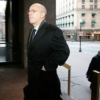 Boston, Massachusetts, USA - January 5, 2011: Former Anglo Irish Bank CEO, David Drumm, and his lawyer Stewart Grossman, right, head to Drumm's bankruptcy deposition at an office building in downtown Boston.  Photo by Matthew Healey
