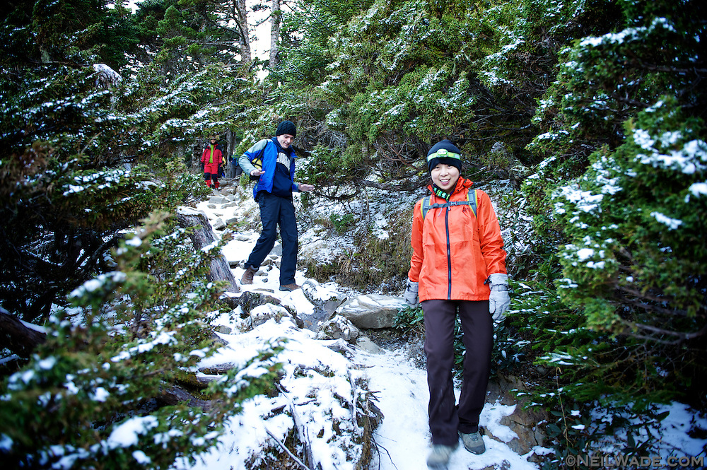 Walking through the snow and the beautiful Black Forest on the way down from the Snow Mountain Main PEak.
