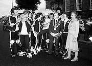 Members of the Roller All Star Hockey Club assemble outside Kilmainham Jail, Dublin, before setting out on a non-stop roller skating marathon from Dublin to Cork to raise money for the Central Remedial Clinic. Dublin&rsquo;s Lord Mayor, Fergus O&rsquo;Brien, inspects their equipment before they leave. On the right is Senator Lady Valerie Goulding, Chairperson and Managing Director of the CRC.<br />15 August 1980
