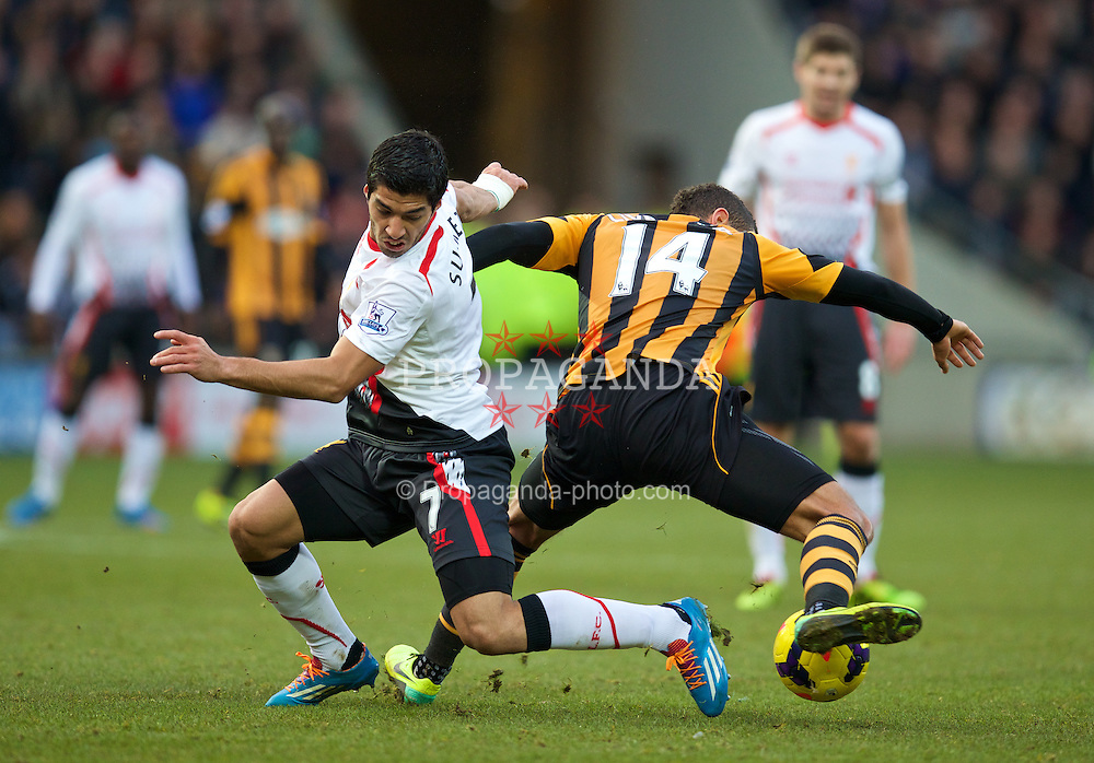 HULL, ENGLAND - Sunday, December 1, 2013: Liverpool's Luis Suarez in action against Hull City's Jake Livermore during the Premiership match at the KC Stadium. (Pic by David Rawcliffe/Propaganda)