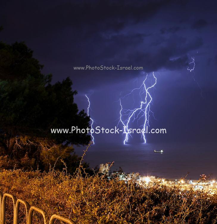 Lightning strikes the Mediterranean Sea. Photographed in Haifa in October