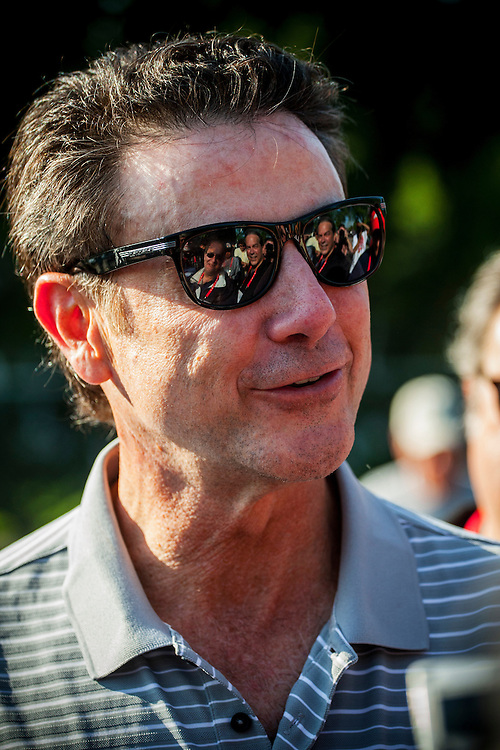 Rick Pitino, coach of the National Champion Louisville Cardinals at Kentucky Derby workouts  at Churchill Downs in Louisville, KY on May 01, 2013. (Alex Evers/ Eclipse Sportswire)