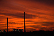 sun set over the Hadera power plant, Israel