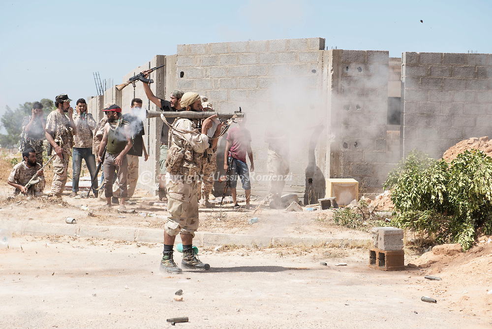 Libya: Libya's Government of National Accord's (GNA) fighter shoots a RPG at ISIS positions in 700 neighbourhood in Sirte still under ISIS control. Alessio Romenzi