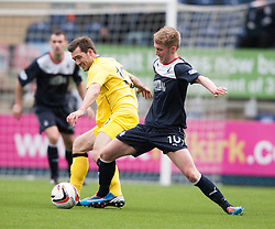 Queen of the South's Michael Paton and Falkirk's Craig Sibbald.<br /> Half time : Falkirk 0 v 0 Queen of the South, Scottish Championship game today at the Falkirk Stadium.<br /> &copy; Michael Schofield.