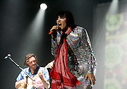 Julian Barratt and Noel Fielding perform live on stage with the Boosh band during The Mighty Boosh Festival at The Hop Farm on July 5, 2008 in Paddock Wood, Kent, England. (Photo by Simone Joyner)