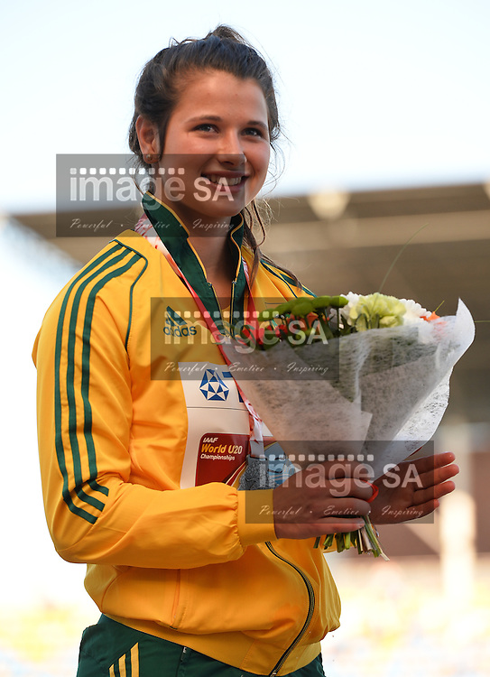 BYDGOSZCZ, POLAND - JULY 21: Jo-Ane van Dyk with her silver medal in the women's javelin during the evening session on day 3 of the IAAF World Junior Championships at Zawisza Stadium on July 21, 2016 in Bydgoszcz, Poland. (Photo by Roger Sedres/Gallo Images)