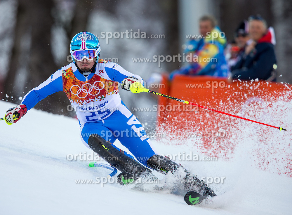 14.02.2014, Rosa Khutor Alpine Center, Krasnaya Polyana, RUS, Sochi 2014, Super- Kombination, Herren, Slalom, im Bild Dominik Paris (ITA) // Dominik Paris of Italy in action during the Slalom of the mens Super Combined of the Olympic Winter Games 'Sochi 2014' at the Rosa Khutor Alpine Center in Krasnaya Polyana, Russia on 2014/02/14. EXPA Pictures © 2014, PhotoCredit: EXPA/ Johann Groder