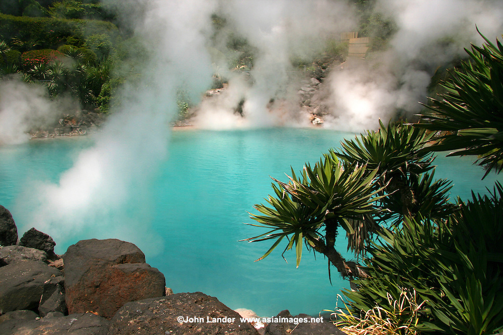 Sea Hell or Umi Jigoku features a pond of hot, blue water is one of the more beautiful hells or jigoku at Beppu.