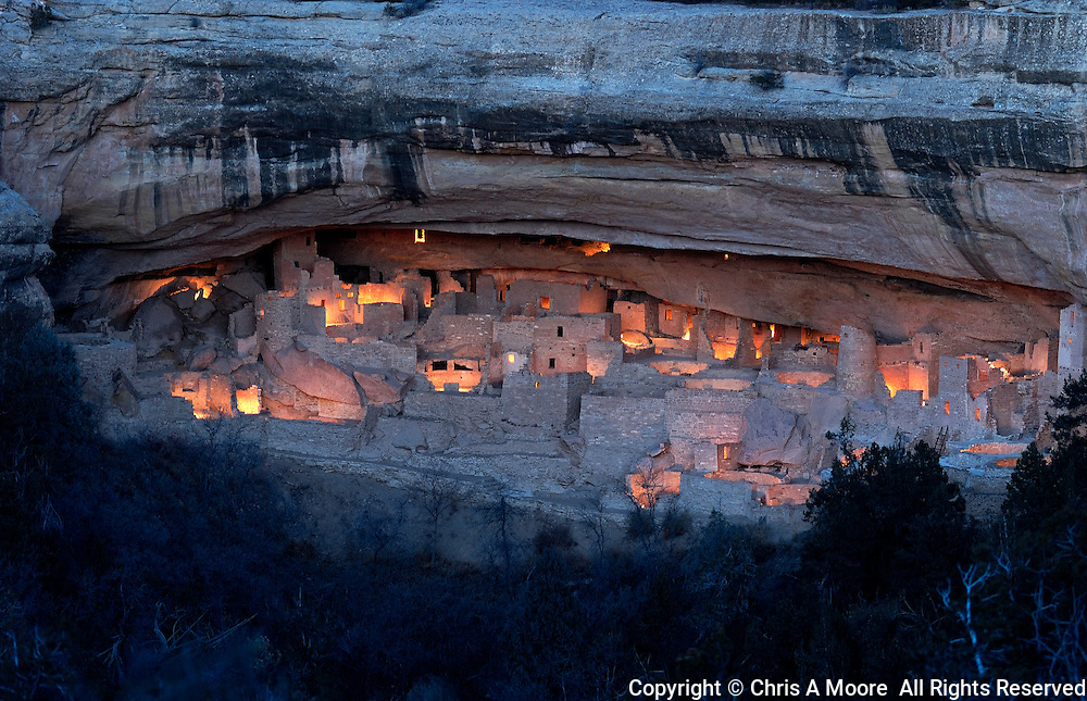 Cliff Palace Mesa Verde National Park is lighted with luminaria by volunteers as the kickoff for the Centennial celebration for Mesa Verde.  December 2005