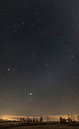 A vertical panorama of the northern spring sky, from Virgo and Corvus above the horizon up through Coma Berenices and Leo, and to Ursa Major and the Big Dipper at top at the zenith from this latitude (50&deg; N). The handle of the Dipper points down to Arcturus at left in B&ouml;otes, and then down to Spica, with bright Jupiter then just above Spica (in March 2017). <br /> <br /> The diffuse glow of Gegenschein is visible between Leo and Virgo, upper right of Jupiter and Spica.<br /> <br /> The image is designed for use to illustrate the Big Dipper pointing down to Arcturus and Regulus and the relative positions of the major spring constellations. <br /> <br /> This is a stitch of 7 frames, each 20 seconds at f/2 with the Sigma 20mm Art lens and Nikon D750 at ISO 3200, untracked. Stitched in ACR.