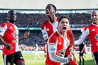 ROTTERDAM  - Feyenoord - PSV , eredivisie , voetbal , Feyenoord stadion de Kuip , seizoen 2014/2015 , 22-03-2015 , Feyenoord speler Anass Achahbar scoort de 1-0 en viert dit met Karim El Ahmadi (r) Terence Kongolo (2e l) en Elvis Manu (l)