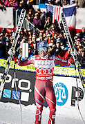 SHOT 12/4/15 11:25:54 AM - Norwegian skier Aksel Lund Svindal reacts after a first place run in the finish area at the 2015 Audi Birds of Prey Downhill at Beaver Creek Ski Resort in Beaver Creek, Co. Birds of Prey is the only men's Audi FIS Ski World Cup stop in the United States. Lyman finished 15th with a time of 1:43.90. Svindal won the event with a time of 1:42.34. (Photo by Marc Piscotty / © 2015)