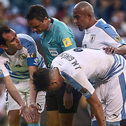 Uruguay Defender DIEGO GODIN (3), left, pleads his case to the official in the first half of a Copa America Centenario Group C match between Uruguay and Venezuela Thursday, June. 09, 2016 at Lincoln Financial Field in Philadelphia, PA.