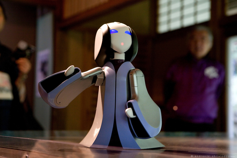 "A robot impersonating Lady Murasaki Shikibu is narrating the stories of ""The Tale of Genji"" to visitors at Ishiyamadera Temple. The temple, located in Otsu City north of Kyoto, is the place where it is said that Lady Murasaki started writing the novel more than 1000 years ago. ."