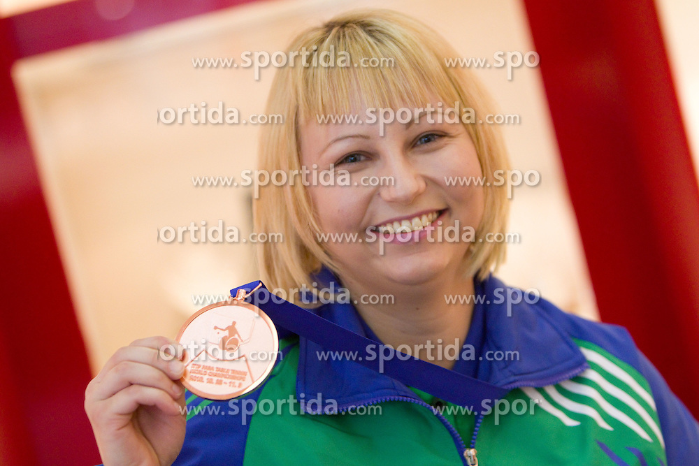 Mateja Pintar of Slovenia with bronze medal at reception in Slovenia after she and Andreja Dolinar  won team's third place at 2010 ITTF Para Table Tennis World Championships which was held in the Korean city of Gwangju, on November 5, 2010, in Mercator Center Siska, Ljubljana, Slovenia. (Photo by Vid Ponikvar / Sportida)